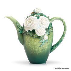 FZ02569 Franz Porcelain Van Gogh Collection White roses teapot spectacular