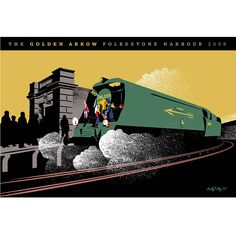 *UNFRAMED*, limited edition print of The Golden Arrow, Folkestone, by acclaimed artist and designer Andy Tuohy.  The Orient Express was the name of a long-distance passenger train service originally operated by the Compagnie Internationale des Wagons-Lits. The last scheduled run to Folkestone Harbour of the Golden Arrow was scheduled for May in 2008 of which this is a commemorative print. The print is signed by the artist, embossed and numbered as part of a strictly limited edition of 100.17