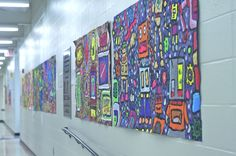 collaborative murals, great blog...great last day of school activity...display at beginning of year next year.