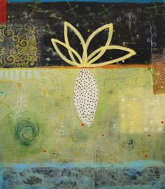 Night Bloom, by Susan Stover    Intro to Encaustic Painting  Gualala Arts Center