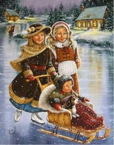 Ice Skating on the River pieces) Vintage Christmas Photos, Old Christmas, Old Fashioned Christmas, Christmas Scenes, Victorian Christmas, Christmas Pictures, Illustration Noel, Christmas Illustration, Winter Images