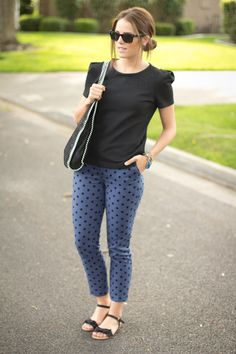 Great casual spring look. Polkadot jeans with blouse and flat sandals.