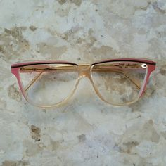 Pink Valentino 1950s Style Frames Vintage made in Italy Valentino frames. Gold metal with pink clear, and black plastic overlay. 1950s cat eye style. Frames only. Valentino Accessories Glasses