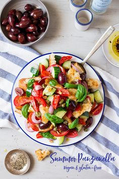 #summer #panzanella #salad makes an ideal hot weather #lunch. it's #quick and #easy to make and tastes delicious. #salads #recipe #recipes #Italian #vegan #glutenfree #rustic #vegetarian