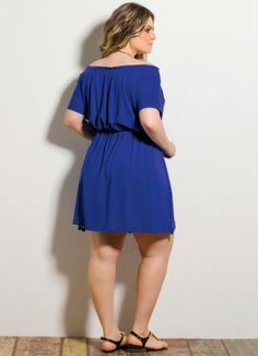 Vestido Detalhe Vazado (Royal) Plus Size