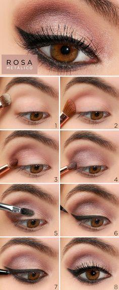 Tutorial de maquiagem em rosa metálico com delineado gatinho - Constance  Zahn 6a0aa03bf7
