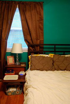 My own bedroom.  The paint color is Aqua Waters by Behr.