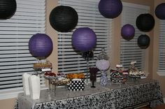 Purple and black themed adult birthday party. Cupcake and candy table. I like the lanterns from the ceiling. 75th Birthday Parties, Adult Birthday Party, Birthday Celebration, 23rd Birthday, Purple Birthday, Purple Party, Graduation Decorations, Birthday Decorations, 30 Bday Ideas