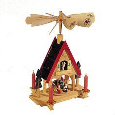 "The Jolly Christmas Shop - Kurt Adler 12"" Wood Alpine House Christmas Candle Carousel H1466, $49.00 (http://www.thejollychristmasshop.com/kurt-adler-12-wood-alpine-house-christmas-candle-carousel-h1466/?page_context=category"