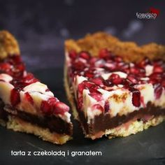 TARTA Z CZEKOLADĄ I GRANATEM Vegan Sweets, Cake Cookies, Quiche, Cake Recipes, Bakery, Cheesecake, Food And Drink, Menu, Cooking