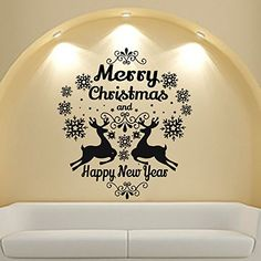 Merry Christmas Wall Decals Decal For Vinyl Sticker Deer Nursery Bedroom Home Decor Room Interior Design Art Murals MN810 >>> See this great product.