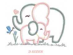 Machine Embroidery Quilts, Brother Embroidery Machine, Machine Embroidery Projects, Baby Embroidery, Applique Embroidery Designs, Machine Applique, Embroidery Designs Free Download, Elephant Quilt, Elephant Applique