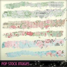 Digital Scrapbooking Journaling Tattered Page Borders - Set of 12 - Paper Trims - Grungy Paper Strips - Tattered Edge - Washi Tape