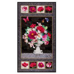 "Michael Miller Mon Ami Mon Ami 24"" Panel Black - Fabric.com Fabric Panel Quilts, Fabric Panels, Floral Bouquets, Floral Wreath, Hancocks Of Paducah, Michael Miller Fabric, Black Quilt, Black Fabric, Black Backgrounds"