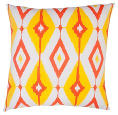 Ikat diamonds in citrusy colors make this Divine Designs Helios Decorative Throw Pillow a fun way to add sass to your sofa. Floral Throw Pillows, Throw Pillow Sets, Outdoor Throw Pillows, Patio Pillows, Cotton Velvet, Designer Pillow, Cotton Pillow, Decorative Throw Pillows, Indoor Outdoor
