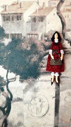 Купить Кукла Тильда гном - бордовый, черный, золото, золотой, гном, гномочка, кукла