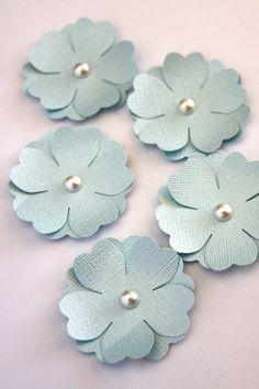 Handmade Paper Flowers in Light Blue Die Cut by Summertimedesign, $3.75