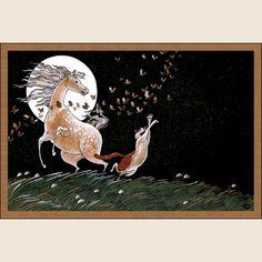 Танцы полной луны. Из набора Про Лошадь - Катя Бауман   Магазин открыток Cardspoint.ru