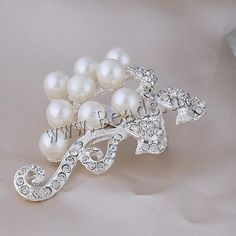 Glass Pearl Brooch, Zinc Alloy, Branch, silver color plated, with glass pearl & with rhinestone, nickel, lead & cadmium free, 40x60mm, 10PCs/Lot,china wholesale jewelry beads