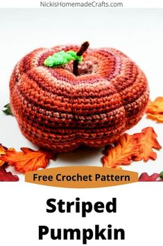 Learn how to crochet a Striped Pumpkin with this free crochet pattern plus video tutorial. #free #crochet #pattern #pumpkin #striped #halloween #thanksgiving #fall #autumn #leaves #decor #DIY #homedecor Halloween Crochet Patterns, Crochet Patterns Amigurumi, Knitting Patterns, Crochet Fall Decor, Holiday Crochet, Knit Or Crochet, Learn To Crochet, Free Crochet, Yarn Organization