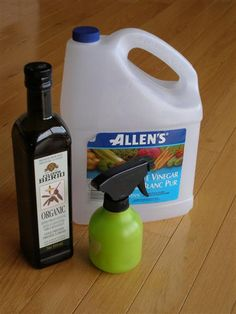A Natural Dusting Spray Recipe- 1 tsp olive oil + 1/2 cup vinegar