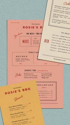 Drawing inspiration from my collection of vintage menus, and the classic flavors of Georgia BBQ, these menu designs combine hand painted floral prints with vintage typography for a new take on classic quick-printed take out menus. Cafe Menu Design, Food Menu Design, Web Design, Layout Design, Vector Design, Restaurant Branding, Restaurant Design, Graphic Design Posters, Graphic Design Inspiration