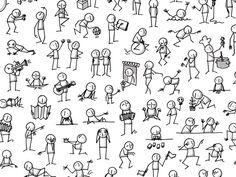 Drawing Doodle Easy Best 25 Doodle people ideas on - Doodle Sketch, Doodle Drawings, Cartoon Drawings, Easy Drawings, Doodle Art, Drawing Sketches, Stick Men Drawings, Doodle Icon, Tatuagem Diy