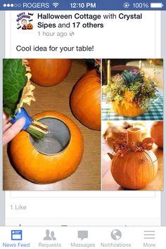 Cute idea for a fall wedding centrepiece !