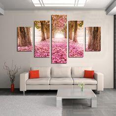 Trees pink flower 5 piece Cheap Modern HD Print