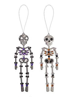 Ganz Red Purple Halloween Silvertone Skeleton 5 inch Acrylic Decorative Ornament, Set of 2 Halloween Ornaments, Christmas Ornaments, Purple Halloween, Protective Packaging, Acrylic Material, Store Hours, Red Purple, Skeleton, Branding Design