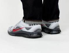 #Nike Free #Flyknit Grey Red #Sneakers