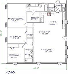1600 sq ft 40 x 40 house floor plan google search barn homes rh pinterest com Metal Barndominium Floor Plans Barndominium Floor Plans 3 Bedroom 2 Bath 80X100
