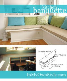 Directions on how to make kitchen banquette seating. Corner Bench Seating, Banquette Seating In Kitchen, Kitchen Benches, Dining Nook, Corner Banquette, Banquette Bench, Dining Chairs, Kitchen Corner, Kitchen Redo