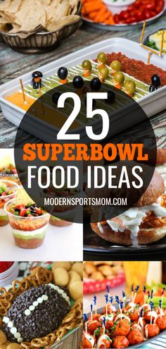 25 Superbowl Game Day Food Ideas - Modern Sports Mom Football season is winding down, and that can only mean one thing-- it's almost time for the Superbowl! Here are 25 delicious Superbowl Game Day Food Ideas that are sure to entertain a crowd! Game Day Appetizers, Appetizers For A Crowd, Game Day Snacks, Game Day Food, Food For A Crowd, Appetizer Recipes, Snack Recipes, Appetizers Superbowl, Party Recipes