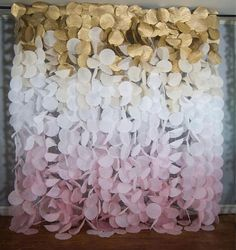 Paper Circle Garland Backdrop: Gold and Blush Ombré