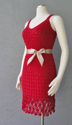 Little Red Crochet Dress One Of A Kind Handmade by Chuletindesigns, $130.00