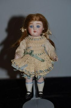 Antique Doll Miniature All Bisque Jointed Glass Eyes Cabinet 251 SWC