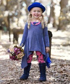 Look at this #zulilyfind! Royal Blue & Pink Sidetail Tunic & Leggings - Toddler & Girls #zulilyfinds