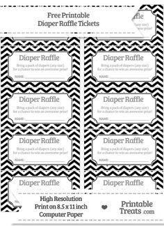 Free Black Chevron Diaper Raffle Tickets Baby Shower Diapers