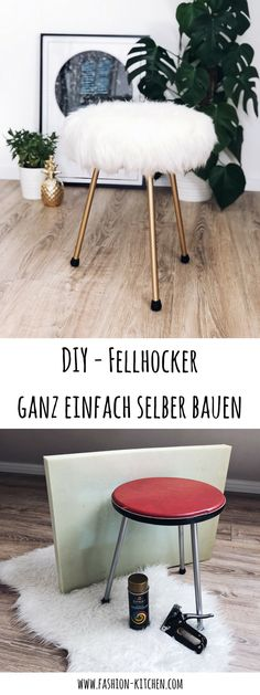 DIY - Fellhocker ganz einfach selber bauen DIY - easy to build your own fur stool, diy, do it yourse Hackers Ikea, Ikea Sheepskin, Diy Man, Decor Crafts, Diy And Crafts, Diy Stool, Decoration, Diy Furniture, Easy Diy