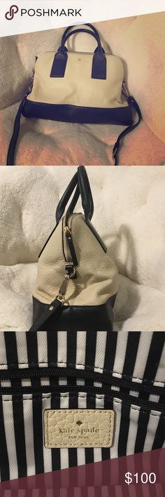 Authentic Kate Spade New York black and cream Bag Gently worn genuine leather kate spade purse. Comes with long shoulder strap. I can fit my 13 inch MacBook Pro in it, and still easily close the purse! kate spade Bags Satchels