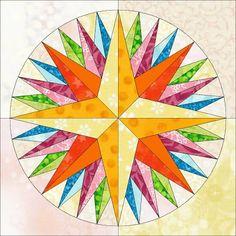 Kaleidoscope Mariner's compass quilt block pattern ~ Foundation piecing Free Pattern!