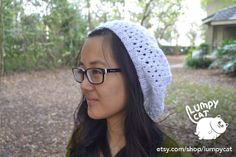 Knitted White Slouchy Hat