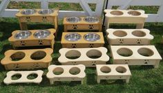 """""""TABLE TOP"""" WOOD DOG FEEDER Handmade Elevated Stand with Paw Print Bowls - Finished Pine"""