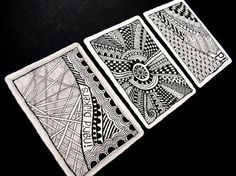 zentangle atc cards doodle-while-you-work Doodles Zentangles, Zentangle Patterns, Easy Zentangle, Zen Doodle, Doodle Art, Art Trading Cards, Tangle Art, Atc Cards, Pocket Letters