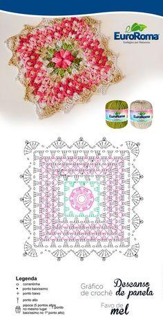 Descanço de Panela Favo de Mel decorativo, feito pela professora Sandra Brum, utilizando o EuroRoma Colori - Cru + Verde Musgo e EuroRoma Milano Vermelho. Crochet Squares, Crochet Motif Patterns, Crochet Pillow Pattern, Crochet Cushions, Crochet Blocks, Granny Square Crochet Pattern, Crochet Chart, Crochet Designs, C2c Crochet