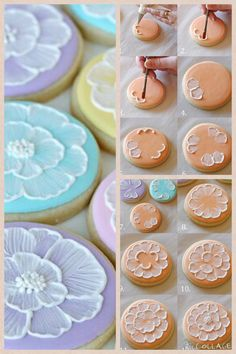 Pretty cookies. Flower Sugar Cookies, Sugar Cookie Royal Icing, Iced Sugar Cookies, Cookie Icing, Easter Cookies, Paint Cookies, Cake Cookies, Cupcakes, Cupcake Cakes