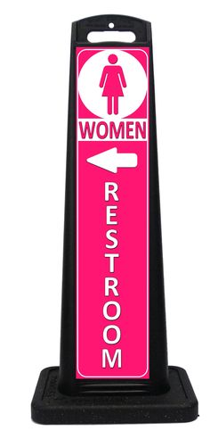 Portable pink womens restroom sign for indoor or outdoor use. Other colors available. Tall, lightweight, attractive and stackable. Portable Signs, Sidewalk Signs, A Frame Signs, Room Signs, Outdoor Events, Custom Labels, Indoor Outdoor, Bookends, Colors