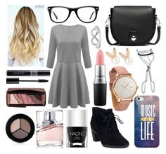 """""""Gold"""" by qwerty-16-polyvore ❤ liked on Polyvore featuring Clarks, Nails Inc., Christian Dior, HUGO, Hourglass Cosmetics, MAC Cosmetics, Smashbox, Casetify, Aamaya by priyanka and MVMT"""