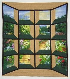 """""""Pathway through my garden"""" by Ellen B, Michigan, USA.  This tweaked attic window quilt has the appearance of a bay window."""